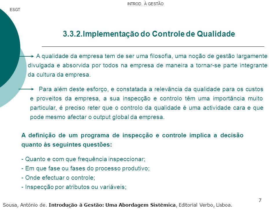3.3.2.Implementação do Controle de Qualidade