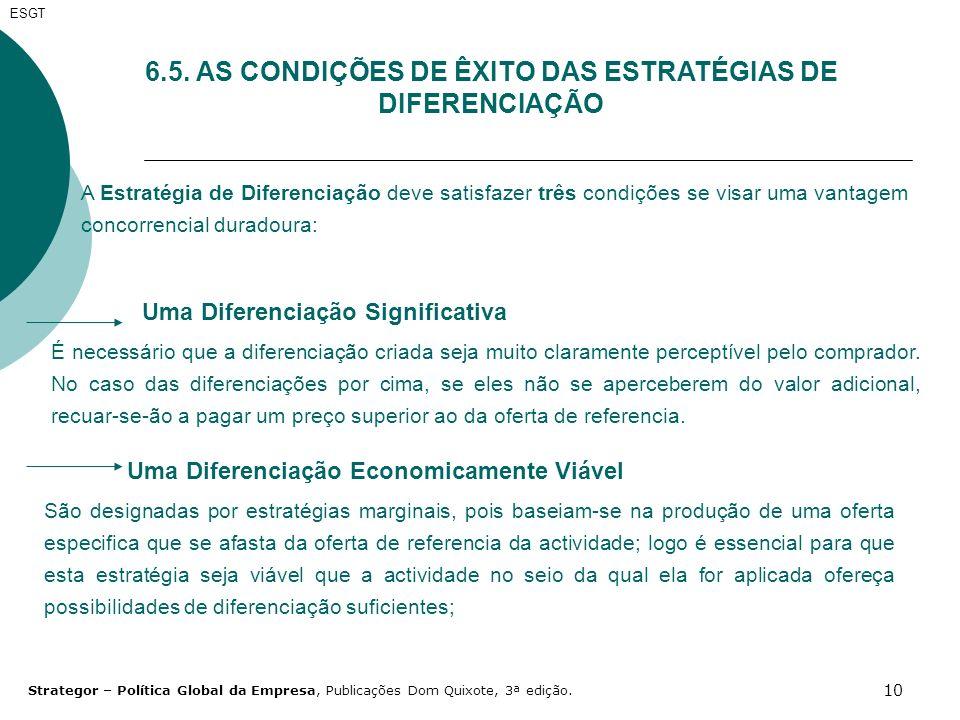6.5. AS CONDIÇÕES DE ÊXITO DAS ESTRATÉGIAS DE DIFERENCIAÇÃO