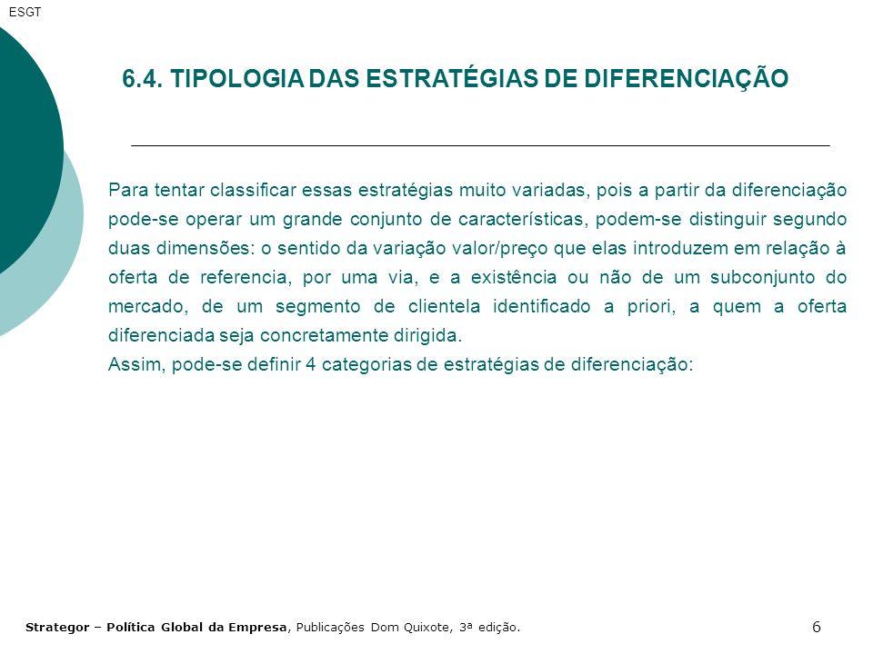 6.4. TIPOLOGIA DAS ESTRATÉGIAS DE DIFERENCIAÇÃO