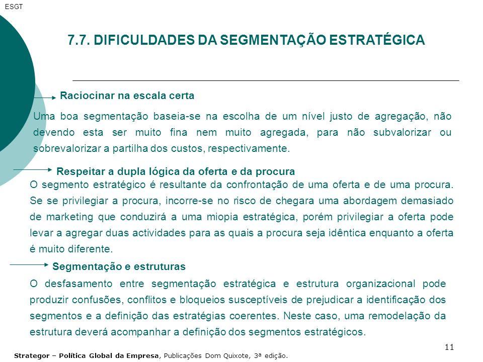 7.7. DIFICULDADES DA SEGMENTAÇÃO ESTRATÉGICA