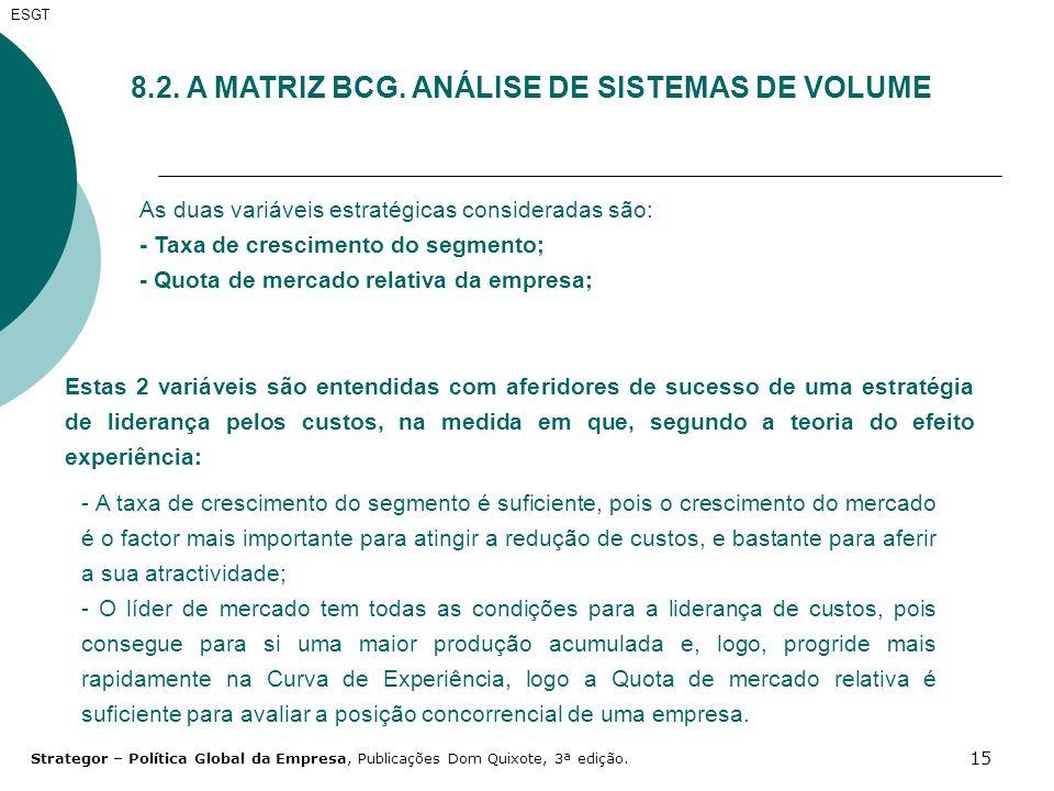 8.2. A MATRIZ BCG. ANÁLISE DE SISTEMAS DE VOLUME