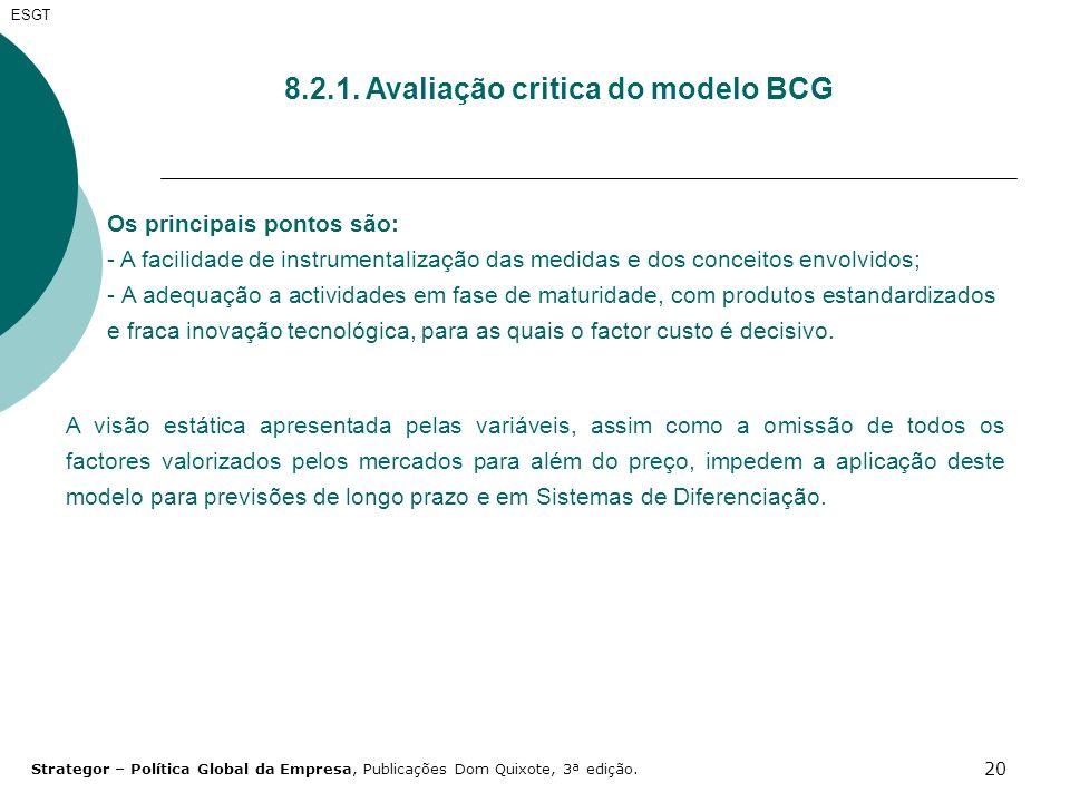 8.2.1. Avaliação critica do modelo BCG