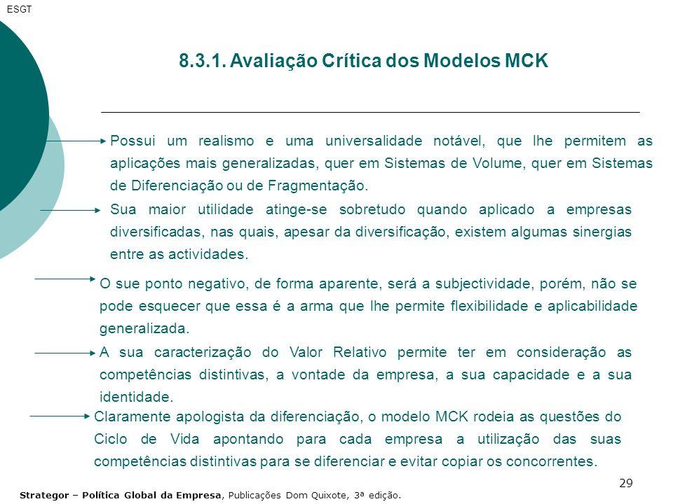 8.3.1. Avaliação Crítica dos Modelos MCK