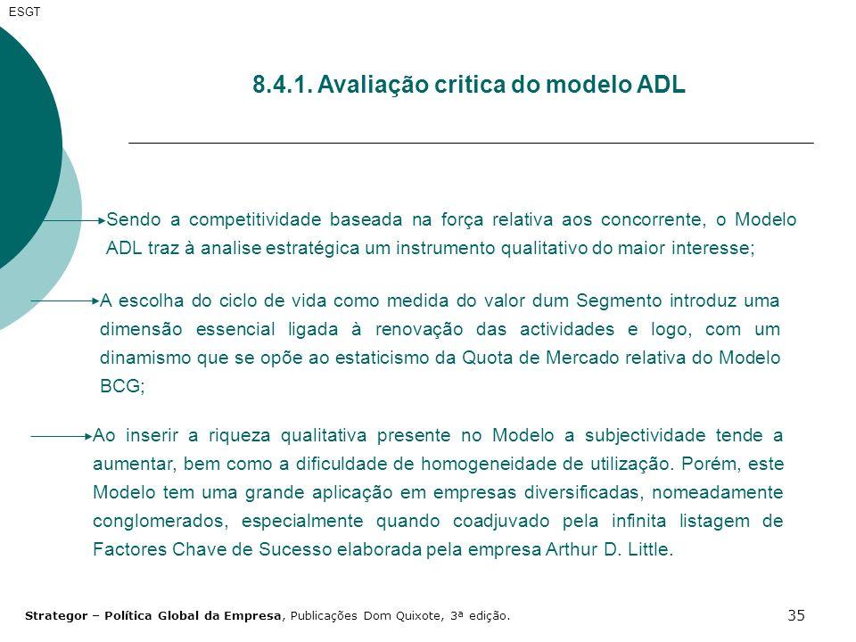 8.4.1. Avaliação critica do modelo ADL