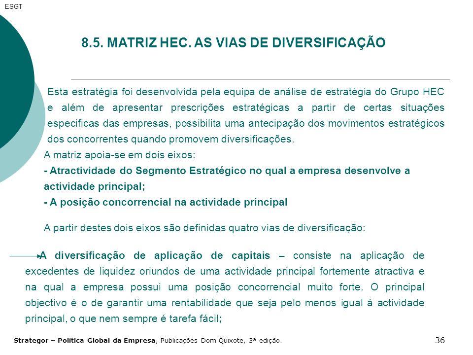 8.5. MATRIZ HEC. AS VIAS DE DIVERSIFICAÇÃO