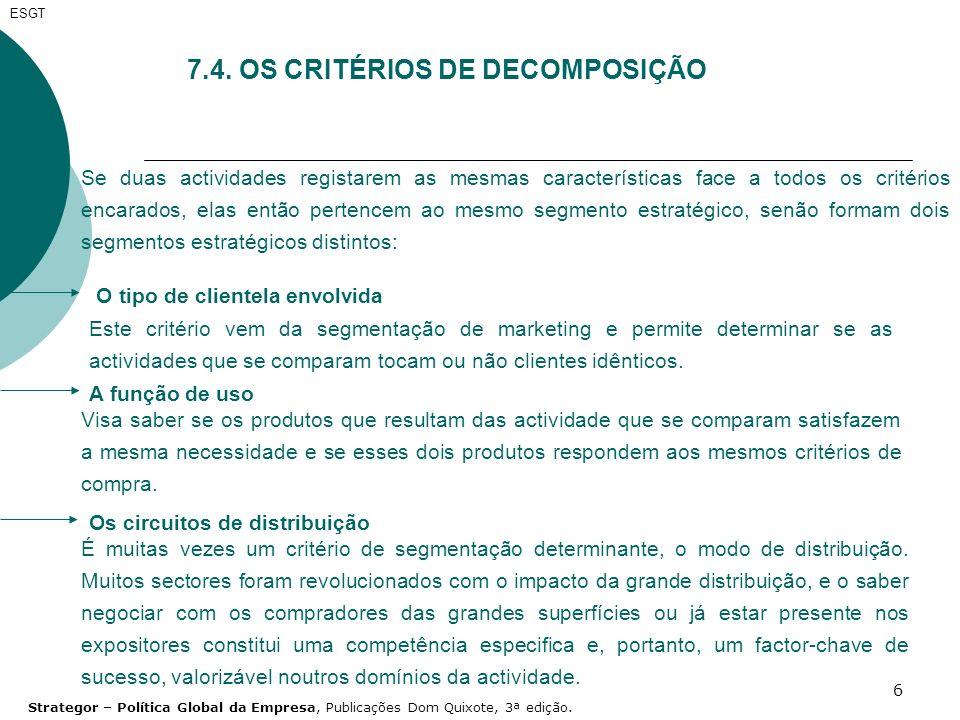 7.4. OS CRITÉRIOS DE DECOMPOSIÇÃO