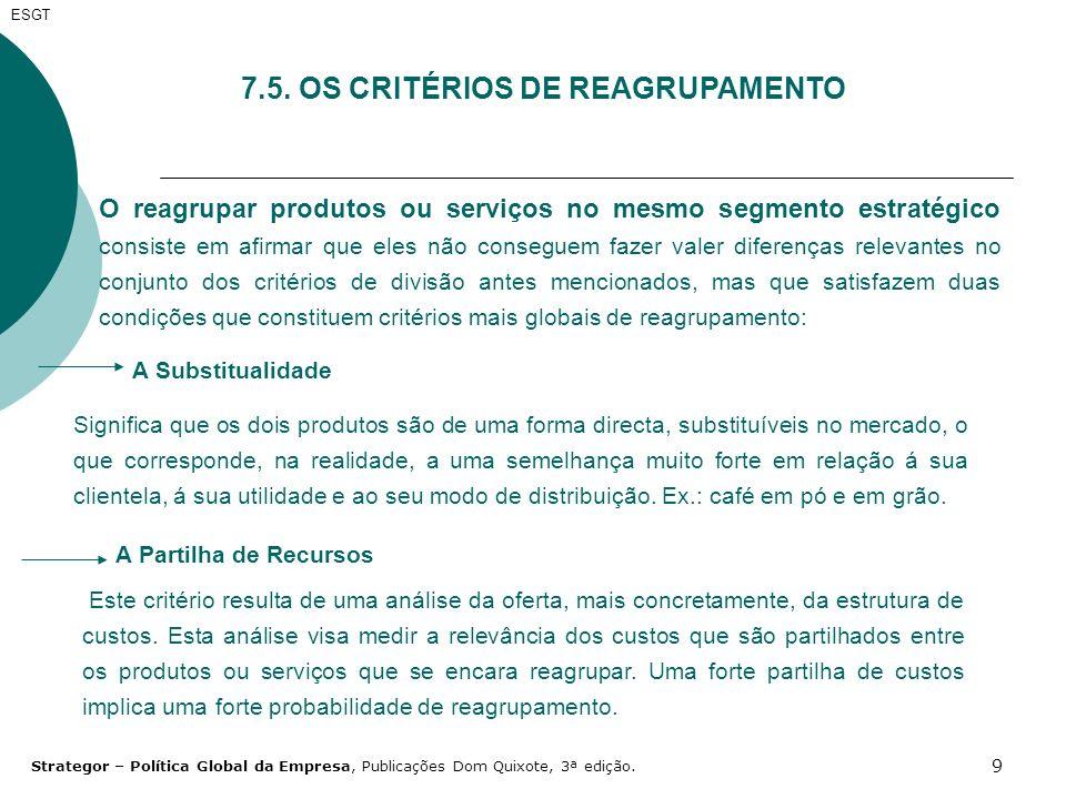 7.5. OS CRITÉRIOS DE REAGRUPAMENTO