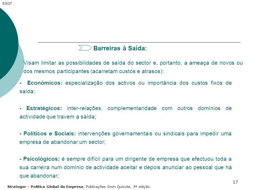 ESGT Barreiras à Saída: