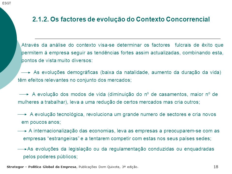2.1.2. Os factores de evolução do Contexto Concorrencial
