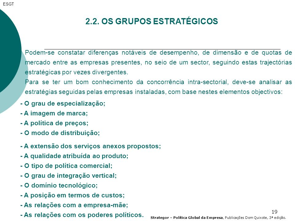 2.2. OS GRUPOS ESTRATÉGICOS