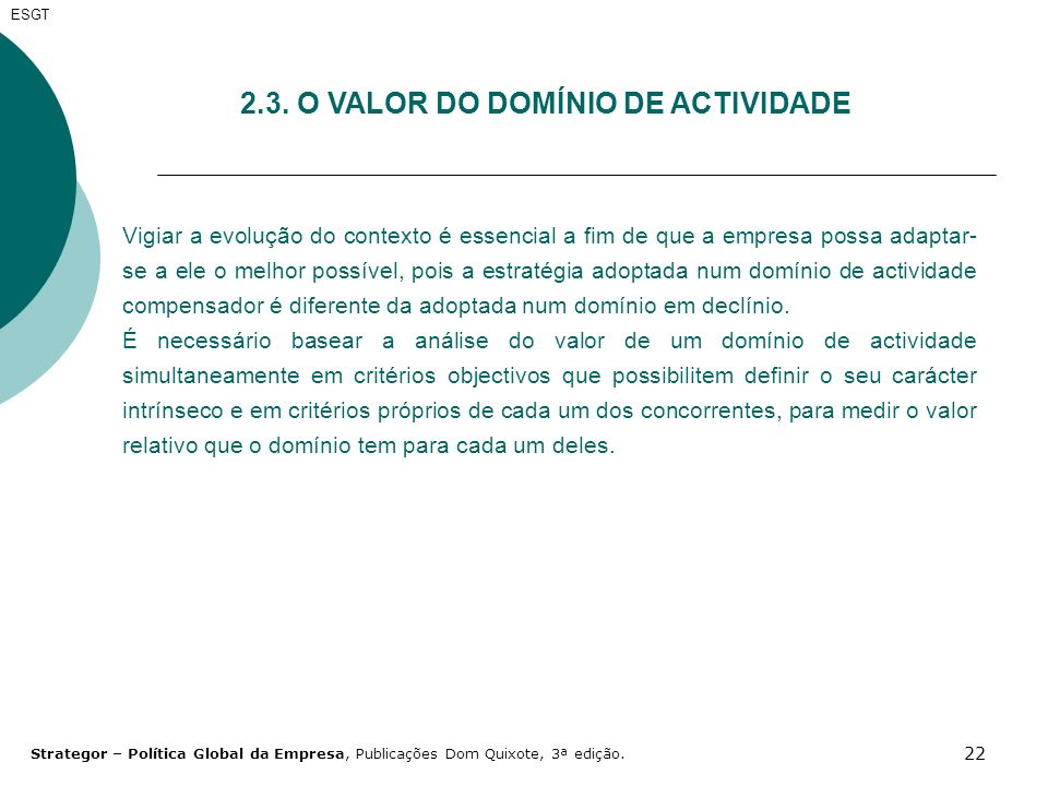 2.3. O VALOR DO DOMÍNIO DE ACTIVIDADE