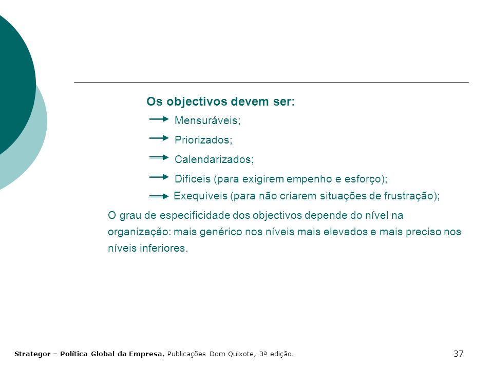 Os objectivos devem ser: