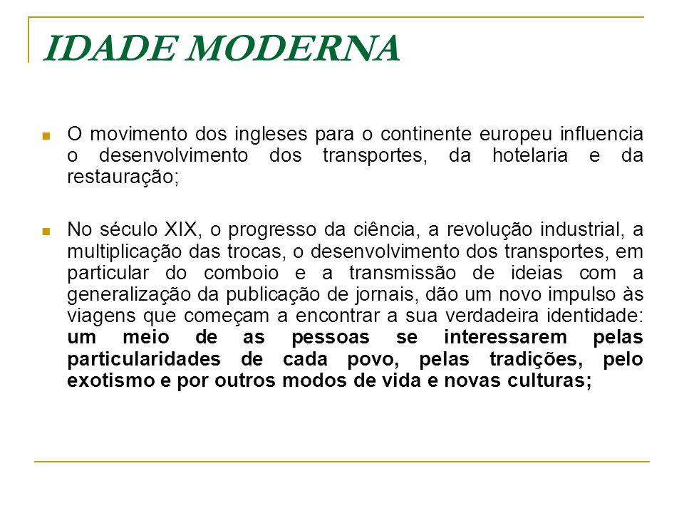 IDADE MODERNA O movimento dos ingleses para o continente europeu influencia o desenvolvimento dos transportes, da hotelaria e da restauração;