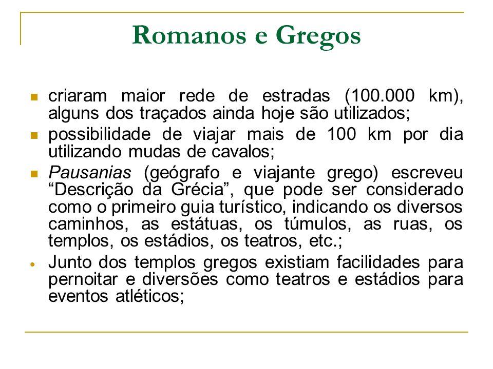 Romanos e Gregos criaram maior rede de estradas (100.000 km), alguns dos traçados ainda hoje são utilizados;