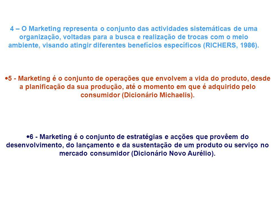 4 – O Marketing representa o conjunto das actividades sistemáticas de uma organização, voltadas para a busca e realização de trocas com o meio ambiente, visando atingir diferentes benefícios específicos (RICHERS, 1986).