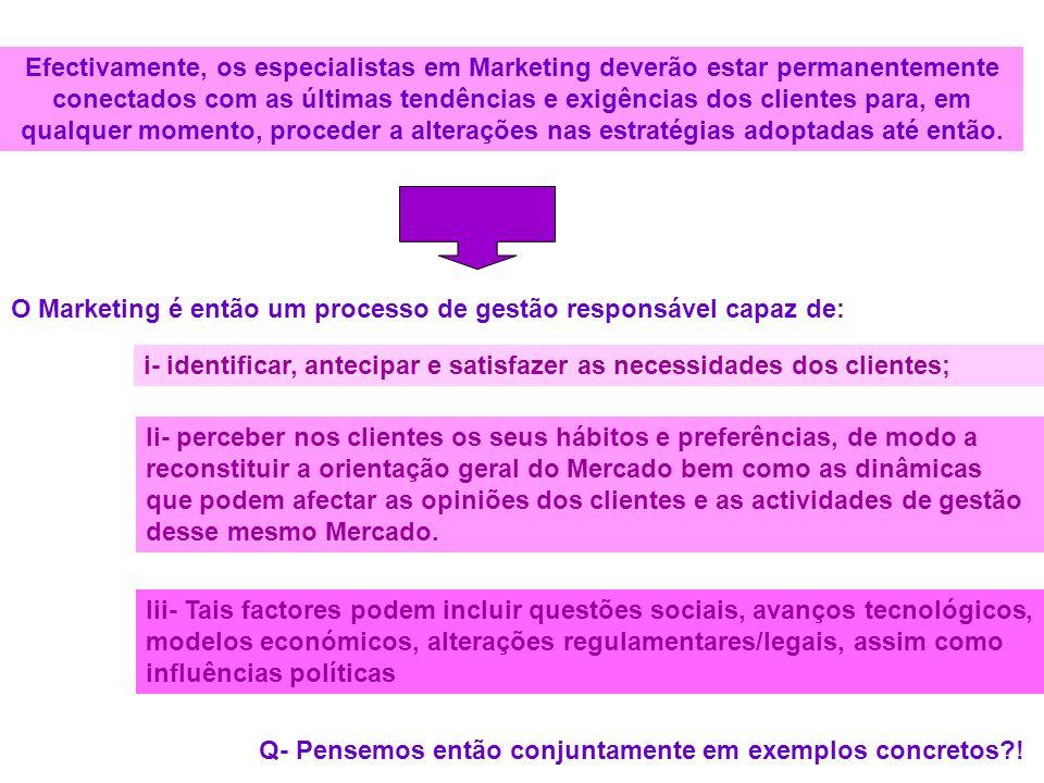 Efectivamente, os especialistas em Marketing deverão estar permanentemente conectados com as últimas tendências e exigências dos clientes para, em qualquer momento, proceder a alterações nas estratégias adoptadas até então.
