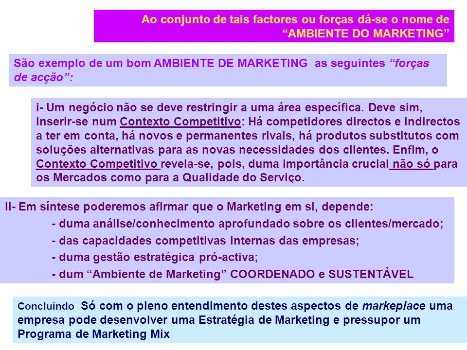 ii- Em síntese poderemos afirmar que o Marketing em si, depende: