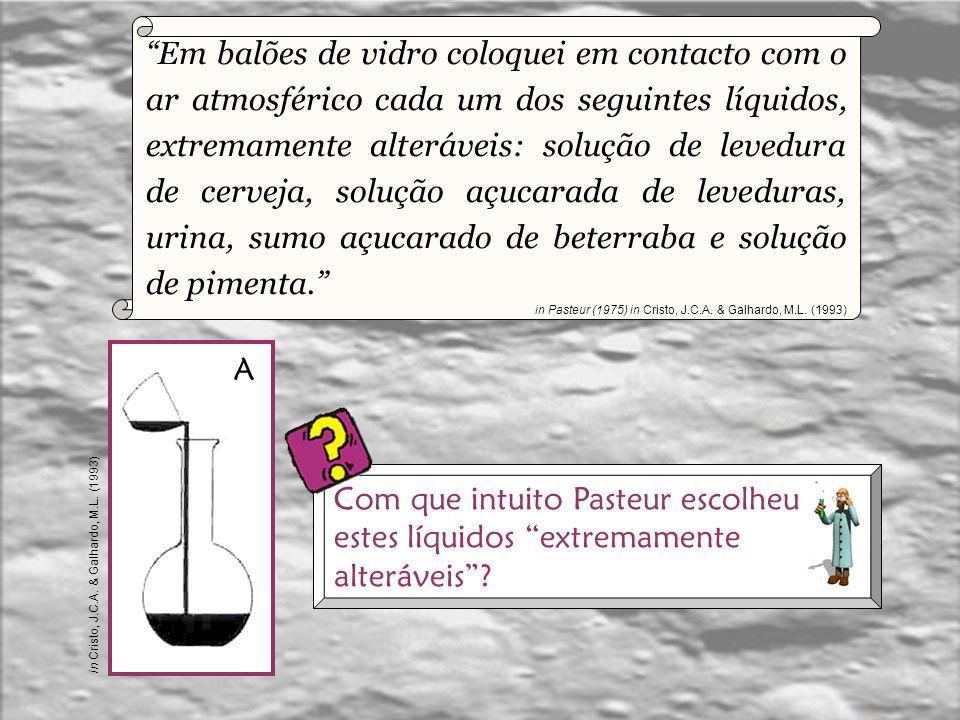 Com que intuito Pasteur escolheu estes líquidos extremamente