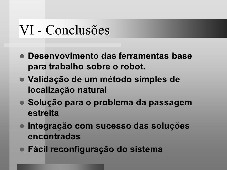 VI - Conclusões Desenvovimento das ferramentas base para trabalho sobre o robot. Validação de um método simples de localização natural.