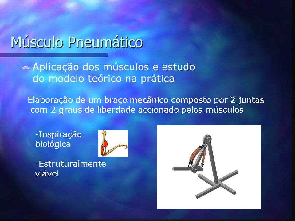 Músculo Pneumático Aplicação dos músculos e estudo