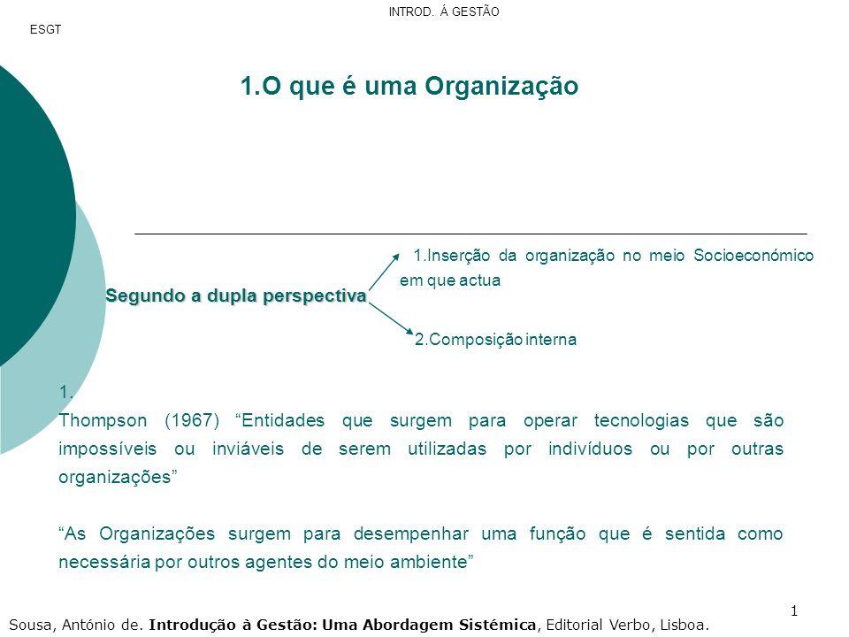 O que é uma Organização Segundo a dupla perspectiva 1.