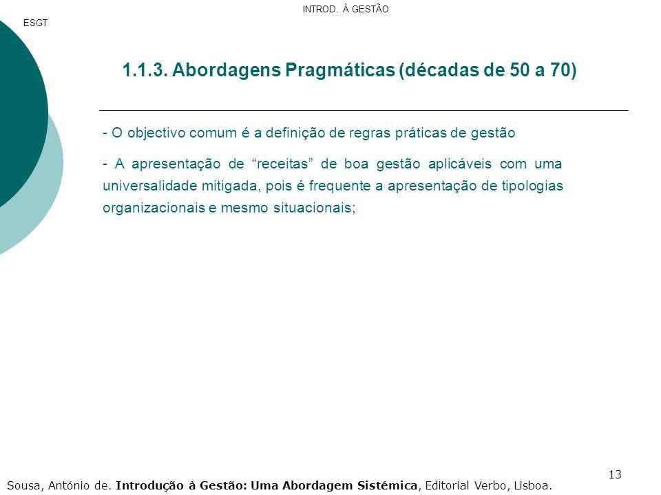 1.3. Abordagens Pragmáticas (décadas de 50 a 70)
