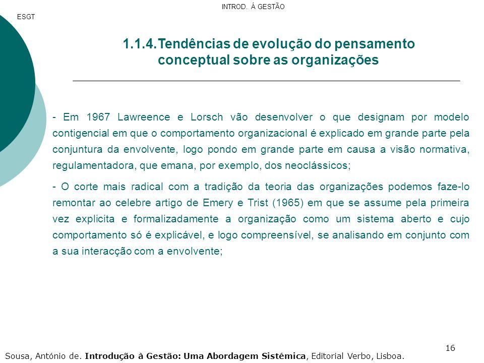 INTROD. Á GESTÃO ESGT. 1.1.4.Tendências de evolução do pensamento conceptual sobre as organizações.