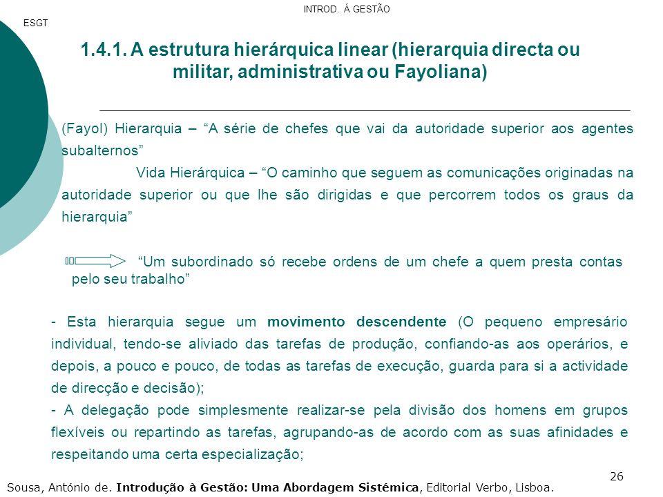 INTROD. Á GESTÃO ESGT. 1.4.1. A estrutura hierárquica linear (hierarquia directa ou militar, administrativa ou Fayoliana)