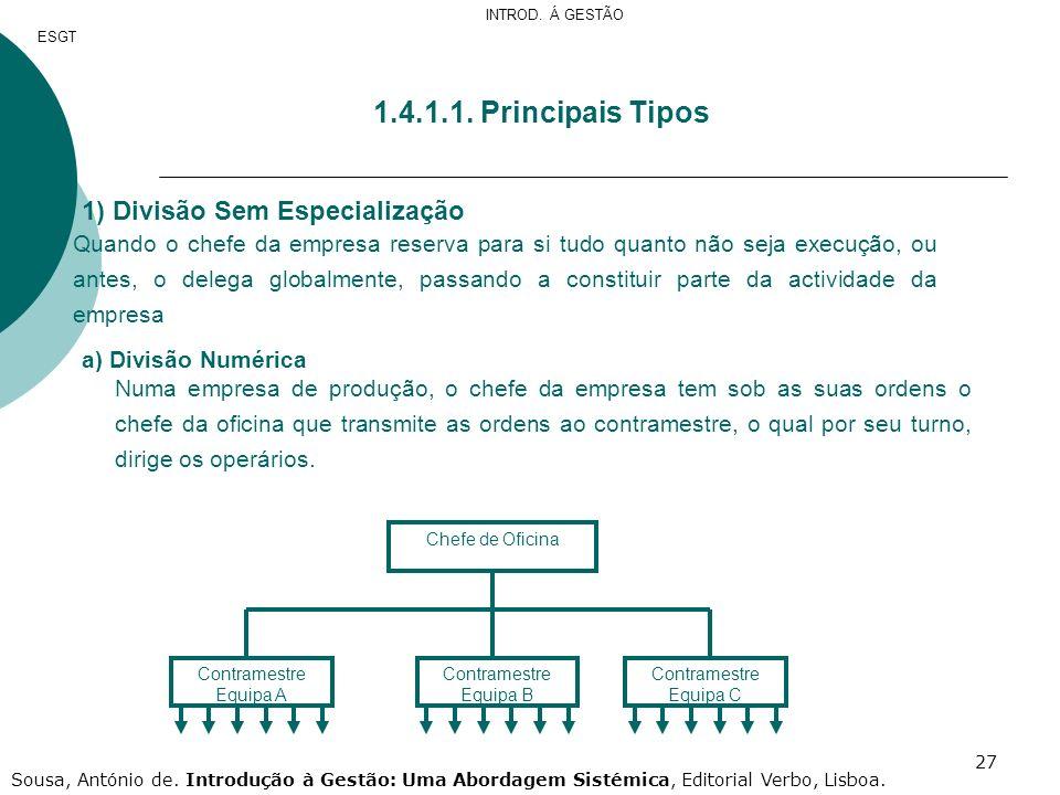 1.4.1.1. Principais Tipos Divisão Sem Especialização