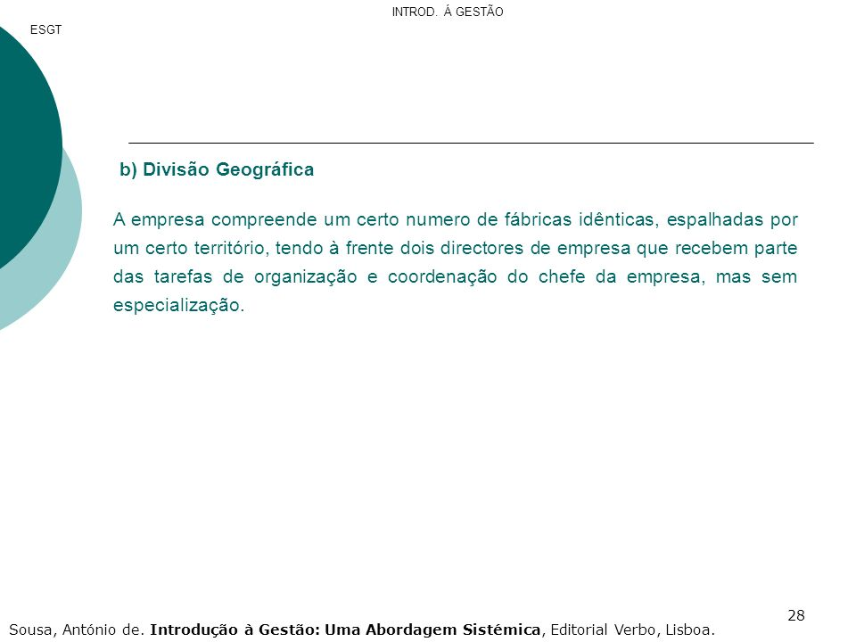 INTROD. Á GESTÃO ESGT. b) Divisão Geográfica.