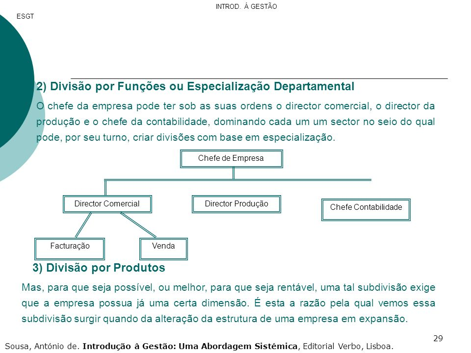 2) Divisão por Funções ou Especialização Departamental