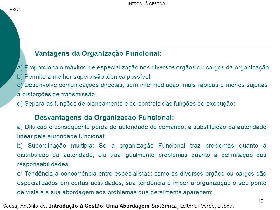 Vantagens da Organização Funcional: