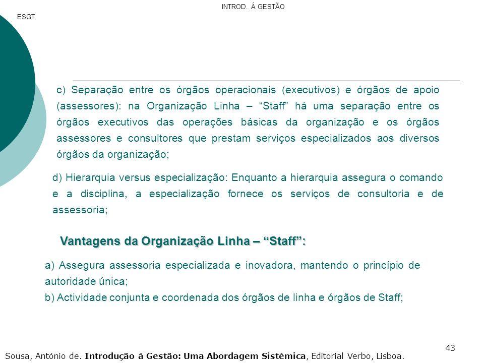 Vantagens da Organização Linha – Staff :