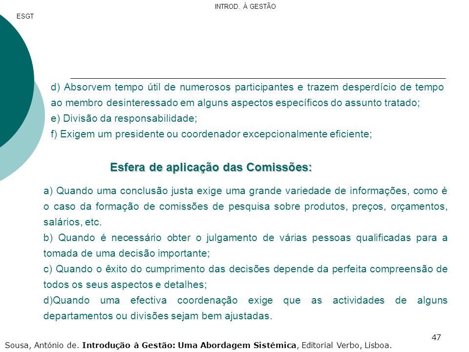 Esfera de aplicação das Comissões: