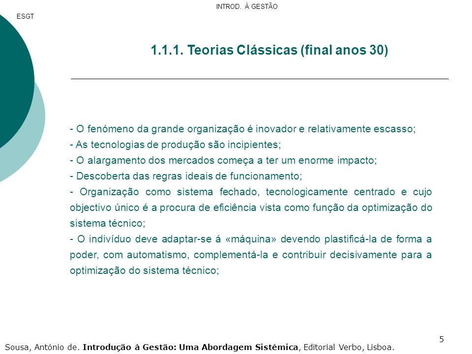 1.1. Teorias Clássicas (final anos 30)