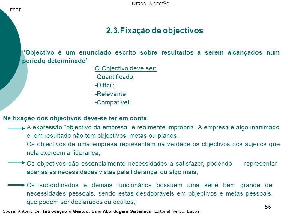 INTROD. Á GESTÃO ESGT. 2.3.Fixação de objectivos. Objectivo é um enunciado escrito sobre resultados a serem alcançados num período determinado