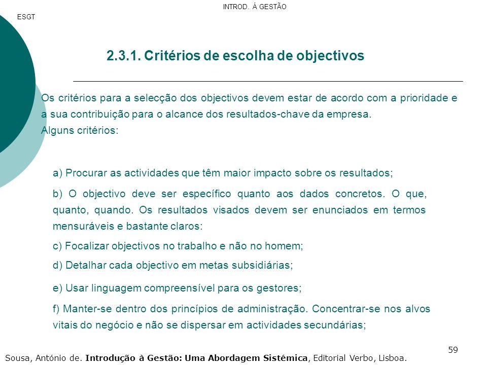 2.3.1. Critérios de escolha de objectivos