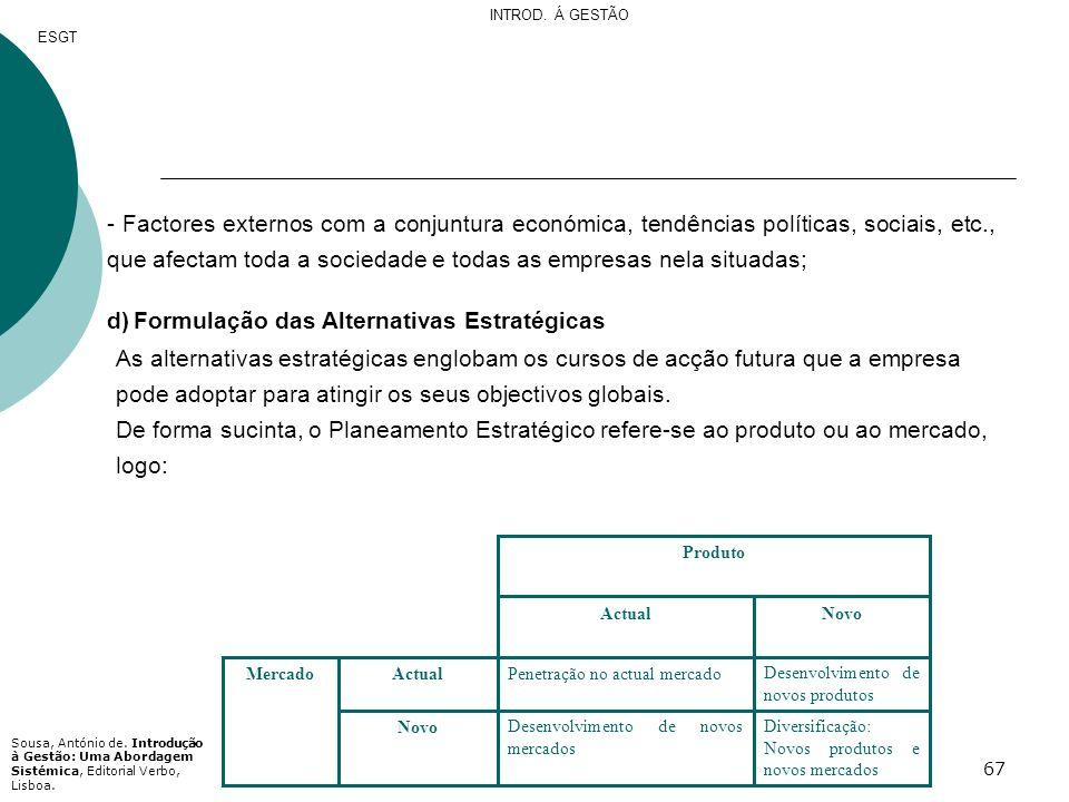 d) Formulação das Alternativas Estratégicas