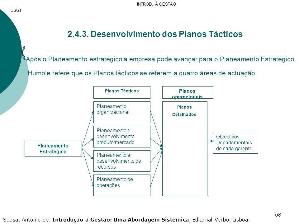 2.4.3. Desenvolvimento dos Planos Tácticos
