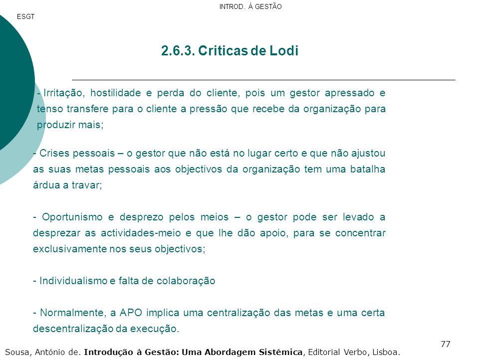 INTROD. Á GESTÃO ESGT. 2.6.3. Criticas de Lodi.