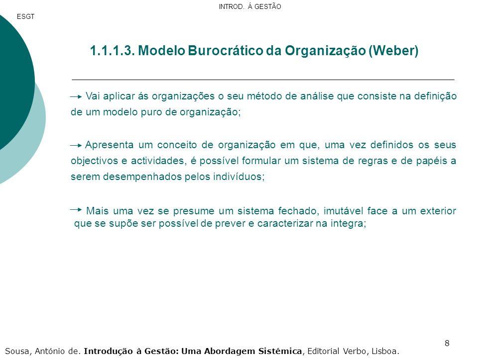 1.1.1.3. Modelo Burocrático da Organização (Weber)