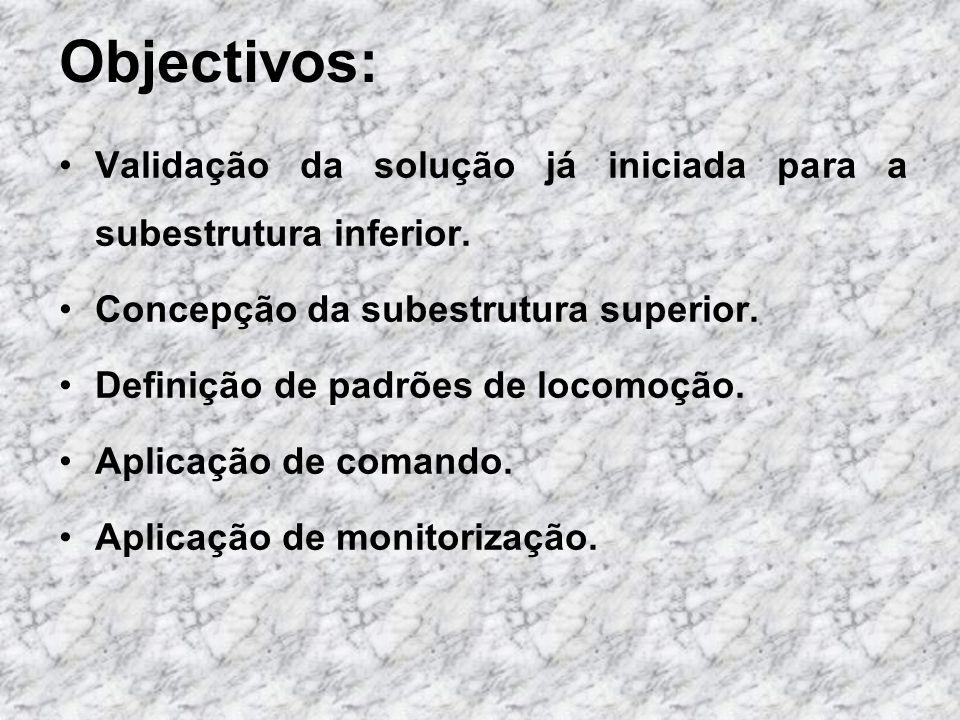 Objectivos:Validação da solução já iniciada para a subestrutura inferior. Concepção da subestrutura superior.