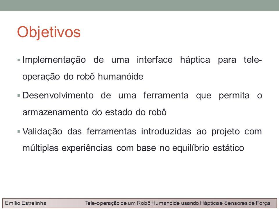 Objetivos Implementação de uma interface háptica para tele- operação do robô humanóide.