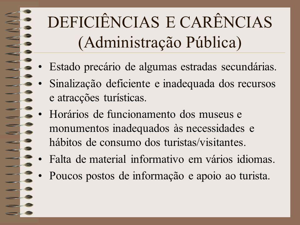 DEFICIÊNCIAS E CARÊNCIAS (Administração Pública)
