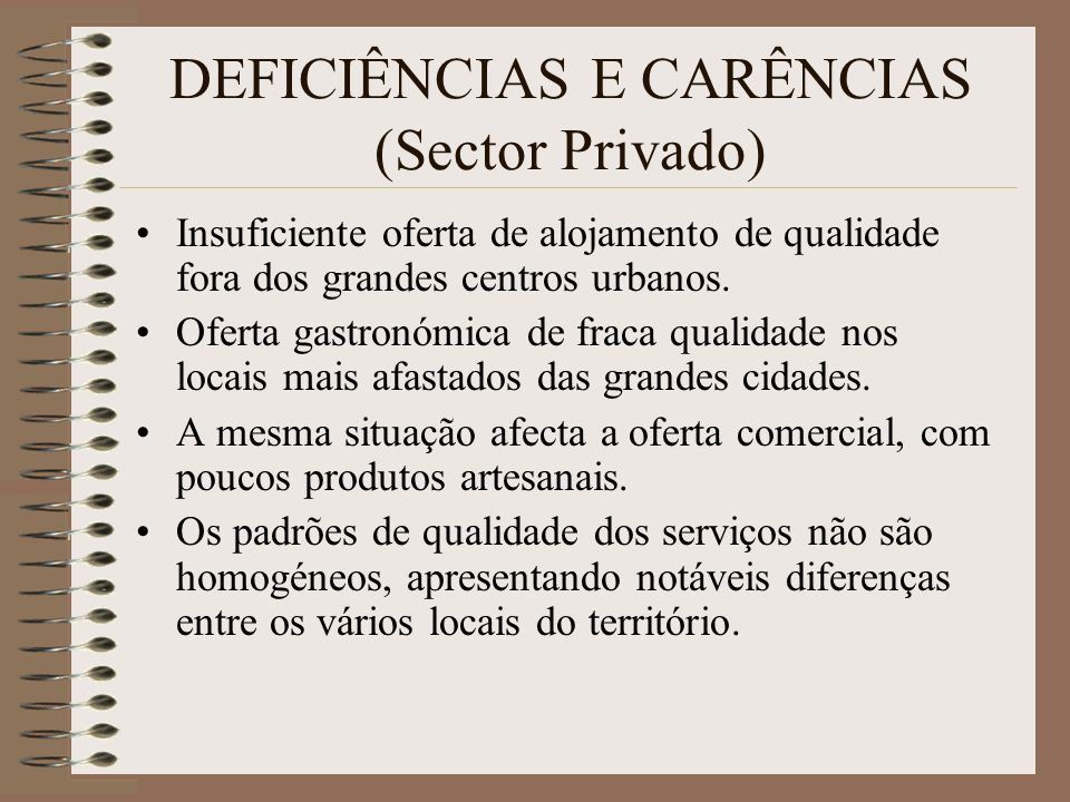 DEFICIÊNCIAS E CARÊNCIAS (Sector Privado)