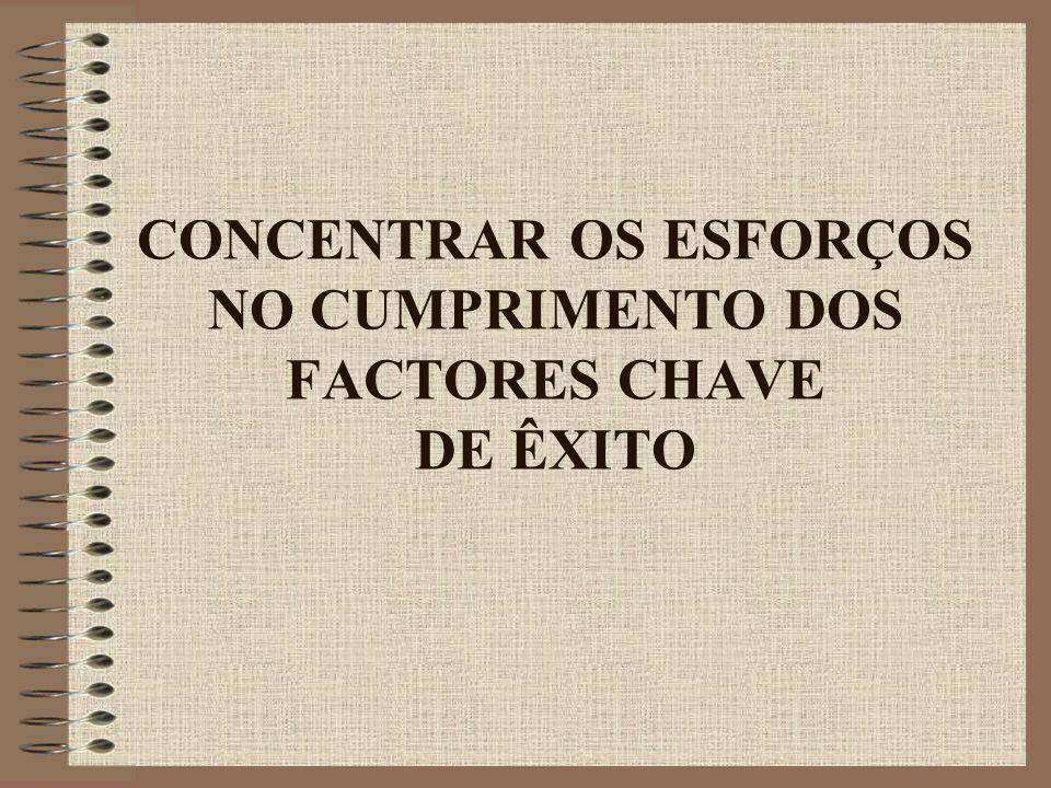 CONCENTRAR OS ESFORÇOS NO CUMPRIMENTO DOS FACTORES CHAVE DE ÊXITO