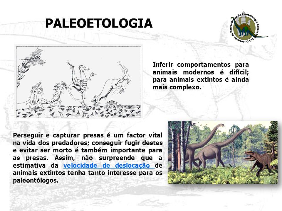PALEOETOLOGIA Inferir comportamentos para animais modernos é difícil; para animais extintos é ainda mais complexo.