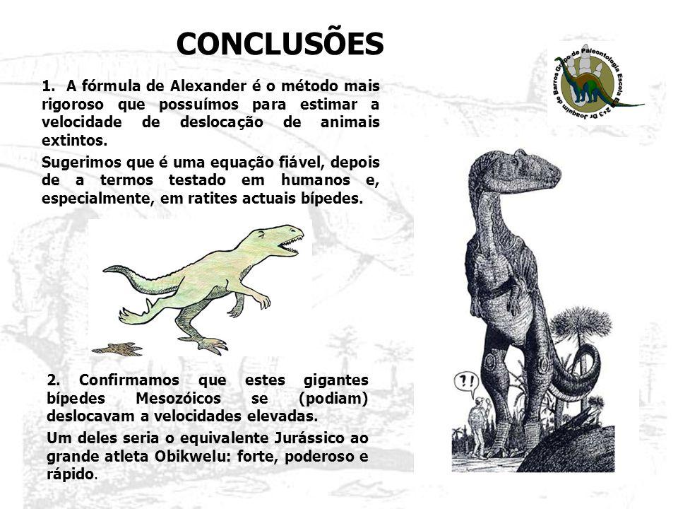 CONCLUSÕES 1. A fórmula de Alexander é o método mais rigoroso que possuímos para estimar a velocidade de deslocação de animais extintos.