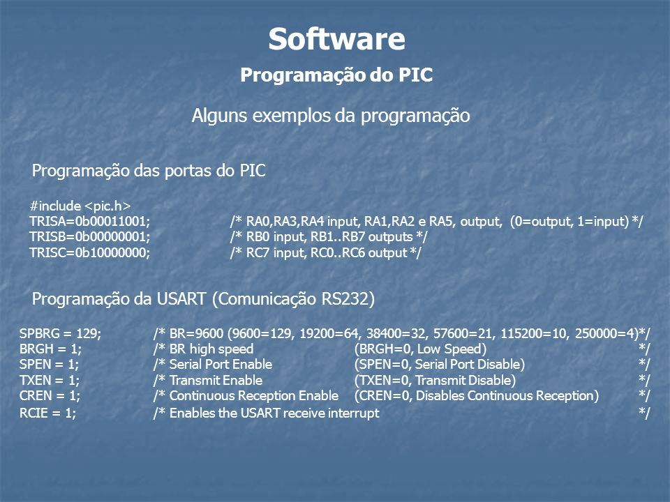 Software Programação do PIC Alguns exemplos da programação