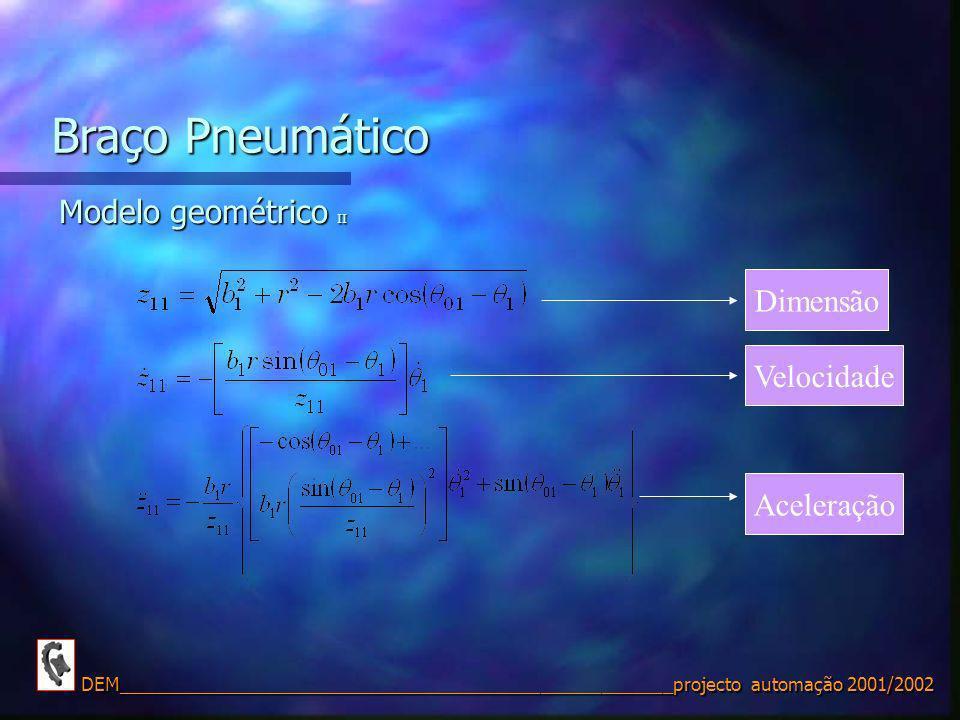 Braço Pneumático Modelo geométrico II Dimensão Velocidade Aceleração